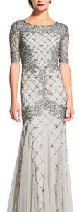 Silver Adrianna Papell Sequined Gown